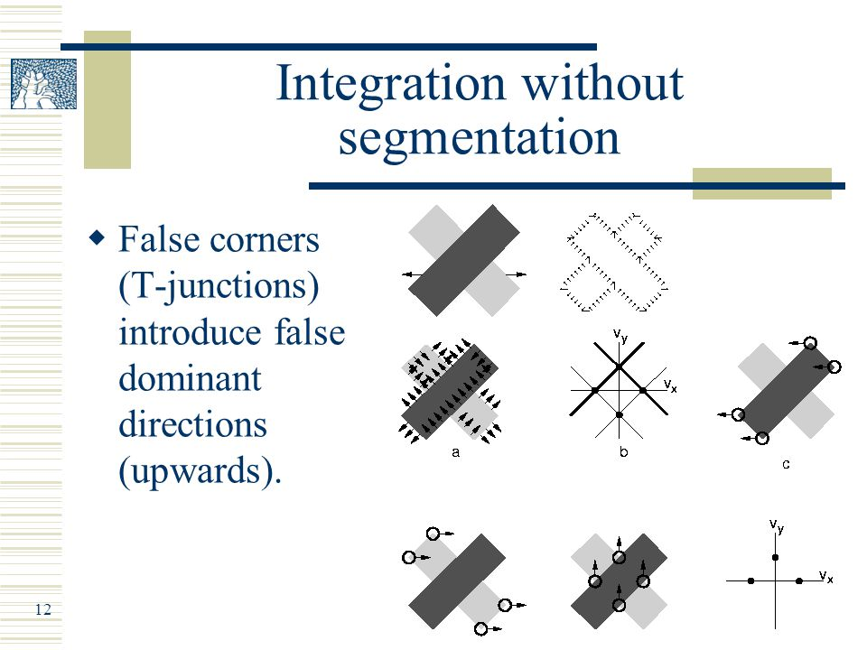 12 Integration without segmentation  False corners (T-junctions) introduce false dominant directions (upwards).