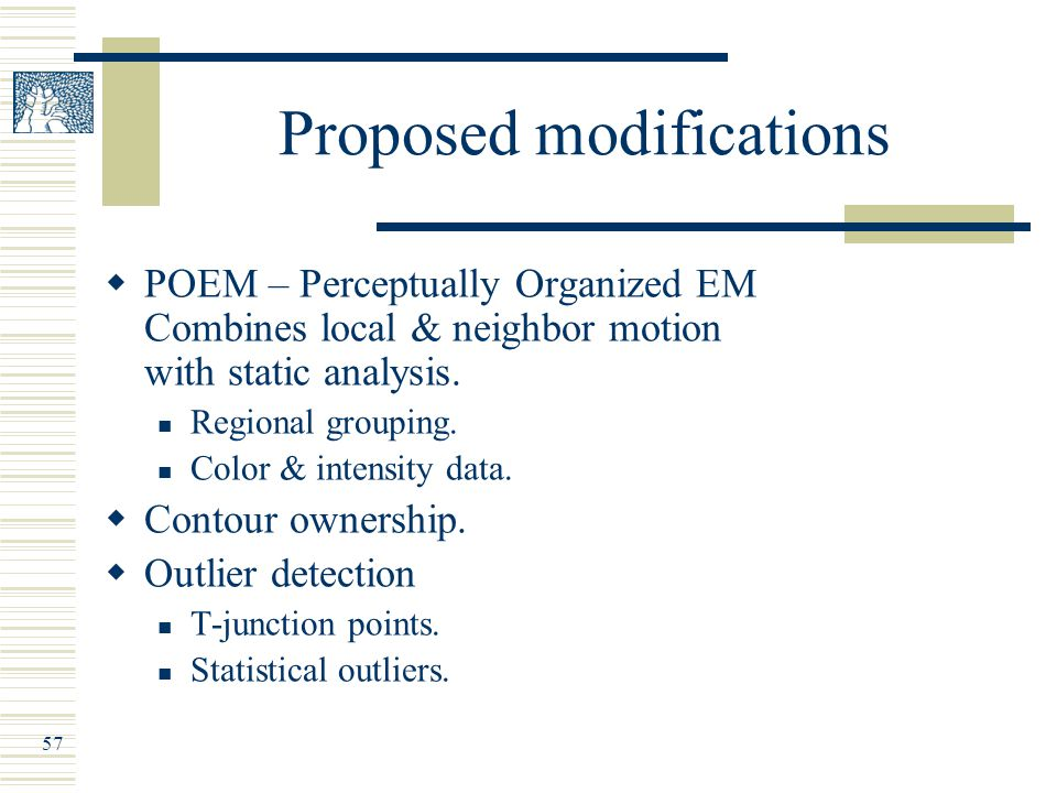 57 Proposed modifications  POEM – Perceptually Organized EM Combines local & neighbor motion with static analysis.
