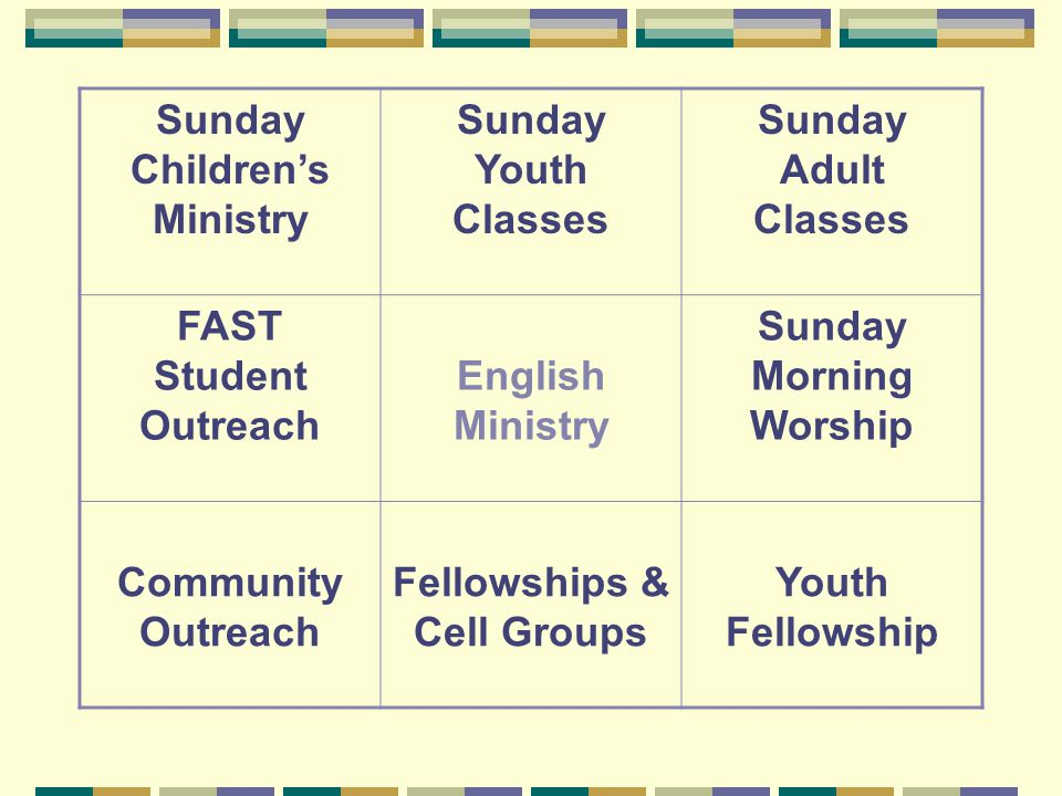 Sunday Children's Ministry Sunday Youth Classes Sunday Adult Classes FAST Student Outreach English Ministry Sunday Morning Worship Community Outreach Fellowships & Cell Groups Youth Fellowship