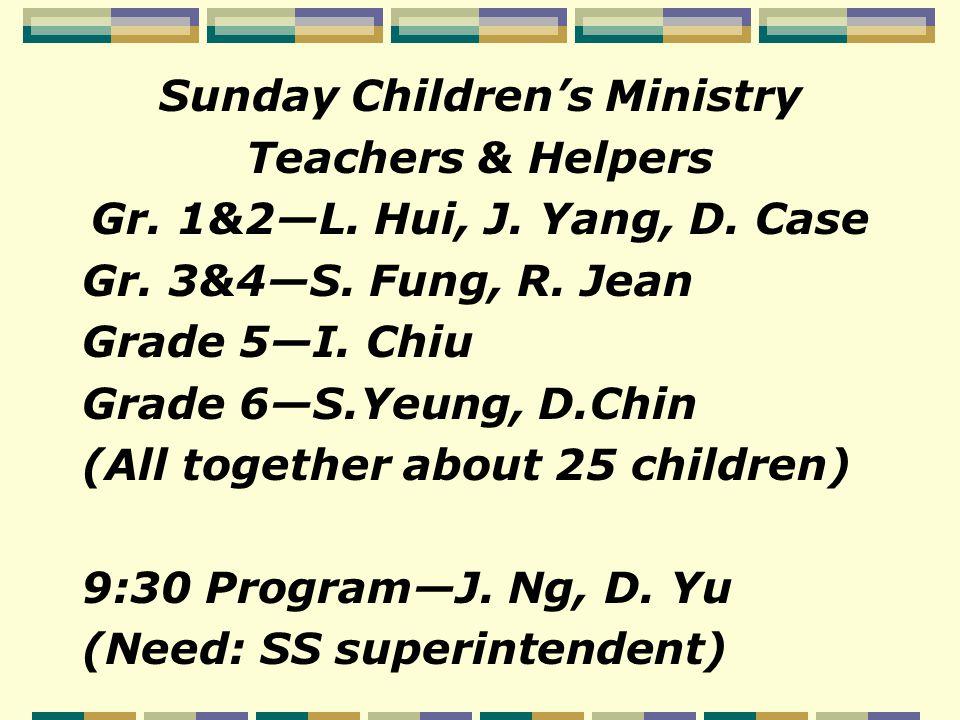 Sunday Youth Classes Teachers Grade 7&8—J.Ng, E. Pan, B.