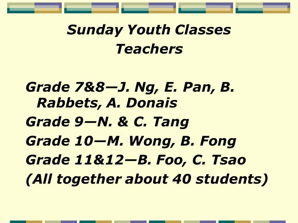 Sunday Youth Classes Teachers Grade 7&8—J. Ng, E.