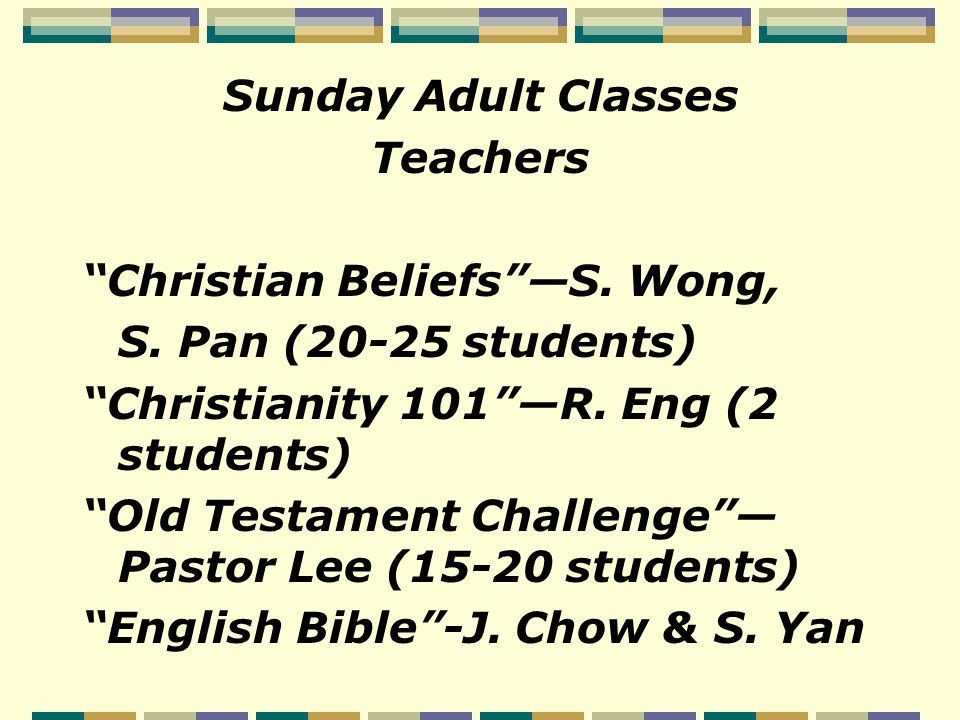 Sunday Adult Classes Teachers Christian Beliefs —S.