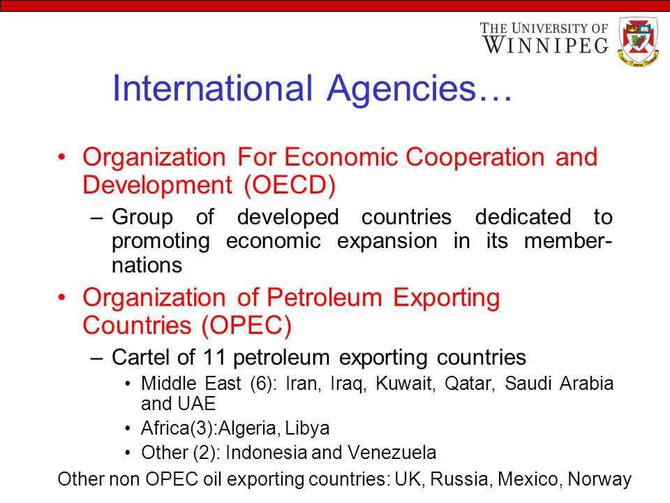 International Agencies… Organization For Economic Cooperation and Development (OECD) –Group of developed countries dedicated to promoting economic expansion in its member- nations Organization of Petroleum Exporting Countries (OPEC) –Cartel of 11 petroleum exporting countries Middle East (6): Iran, Iraq, Kuwait, Qatar, Saudi Arabia and UAE Africa(3):Algeria, Libya Other (2): Indonesia and Venezuela Other non OPEC oil exporting countries: UK, Russia, Mexico, Norway