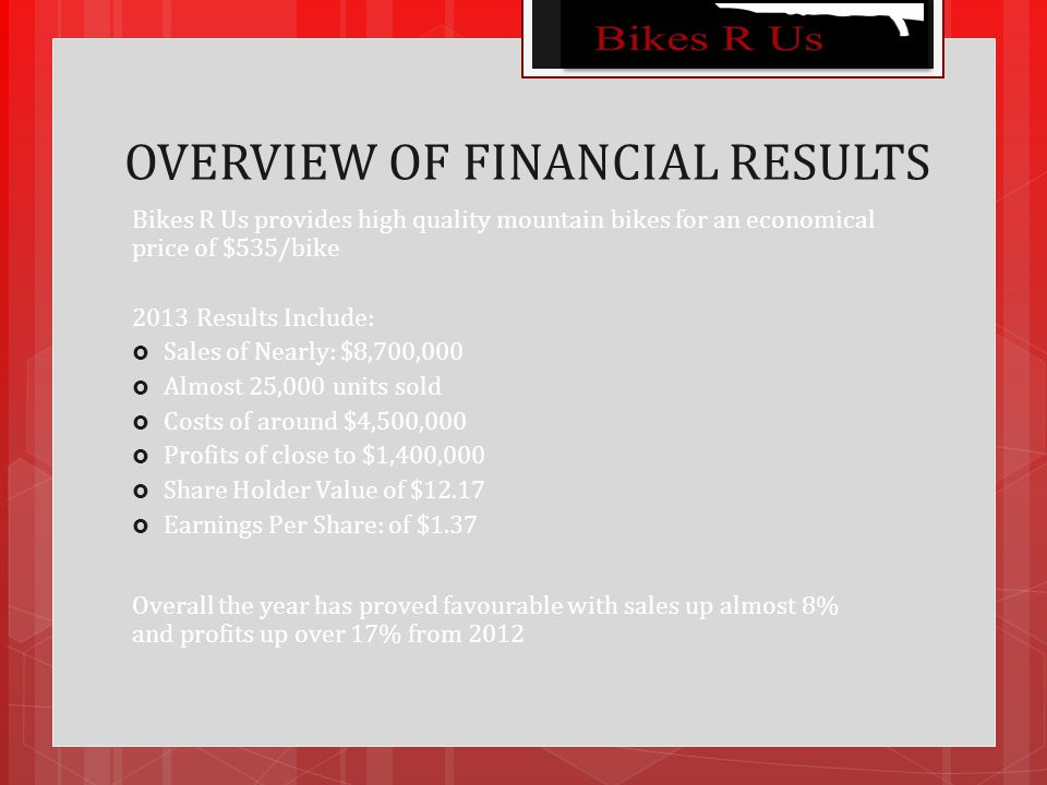 OVERVIEW OF FINANCIAL RESULTS Bikes R Us provides high quality mountain bikes for an economical price of $535/bike 2013 Results Include:  Sales of Nearly: $8,700,000  Almost 25,000 units sold  Costs of around $4,500,000  Profits of close to $1,400,000  Share Holder Value of $12.17  Earnings Per Share: of $1.37 Overall the year has proved favourable with sales up almost 8% and profits up over 17% from 2012