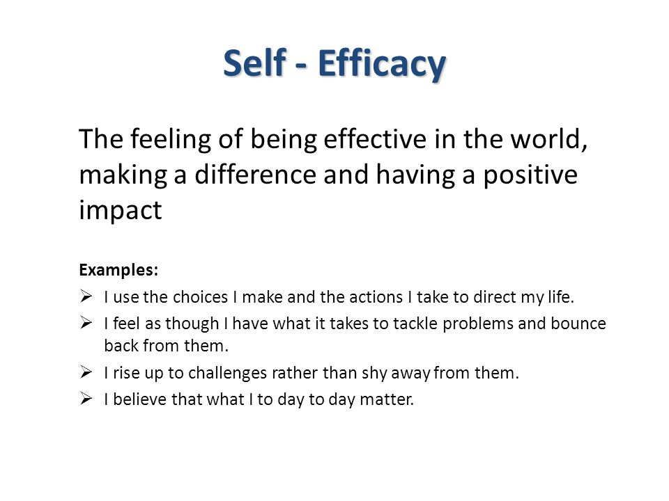 Self - Efficacy The feeling of being effective in the world, making a difference and having a positive impact Examples:  I use the choices I make and the actions I take to direct my life.