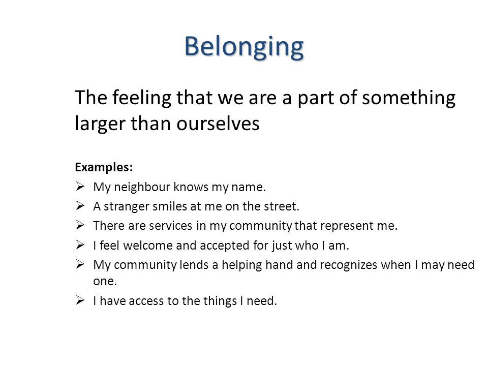Belonging The feeling that we are a part of something larger than ourselves Examples:  My neighbour knows my name.