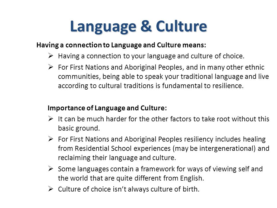 Language & Culture Having a connection to Language and Culture means:  Having a connection to your language and culture of choice.