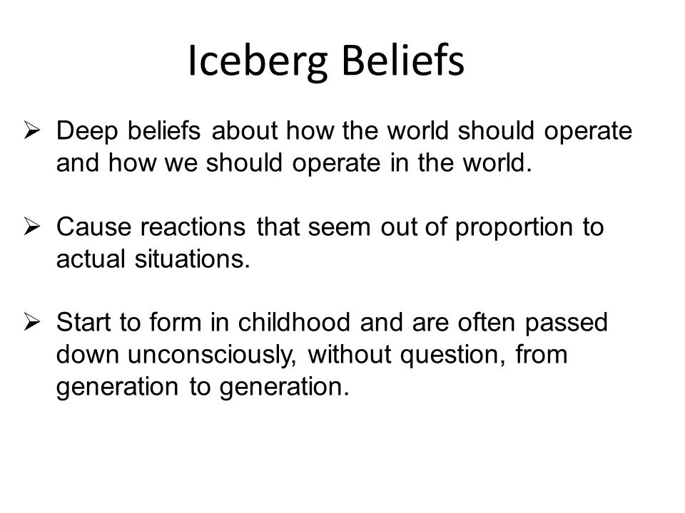 Iceberg Beliefs  Deep beliefs about how the world should operate and how we should operate in the world.