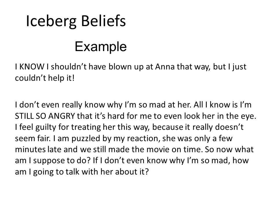 Iceberg Beliefs I KNOW I shouldn't have blown up at Anna that way, but I just couldn't help it.
