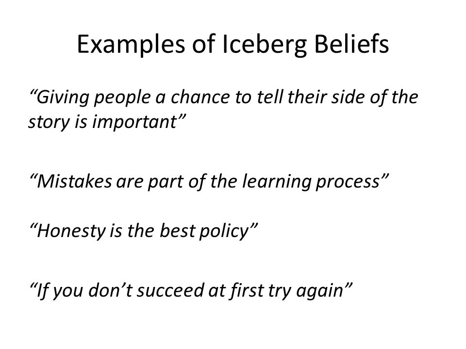 Examples of Iceberg Beliefs Giving people a chance to tell their side of the story is important Mistakes are part of the learning process Honesty is the best policy If you don't succeed at first try again