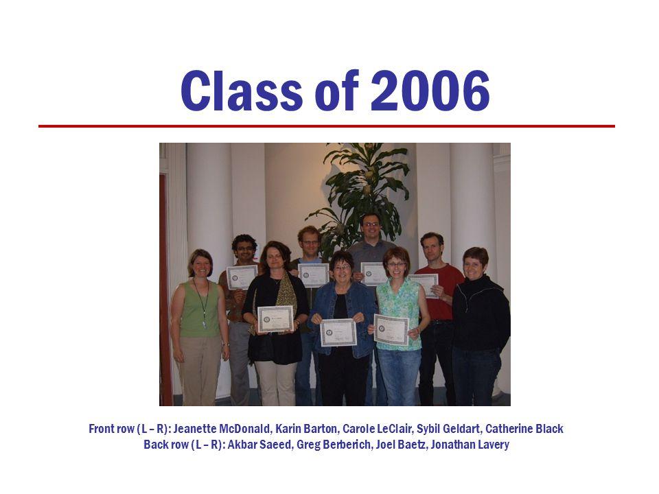 Class of 2006 Front row (L – R): Jeanette McDonald, Karin Barton, Carole LeClair, Sybil Geldart, Catherine Black Back row (L – R): Akbar Saeed, Greg Berberich, Joel Baetz, Jonathan Lavery