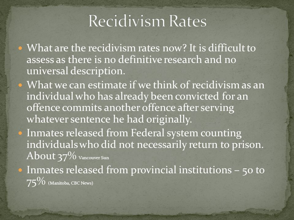 What are the recidivism rates now.