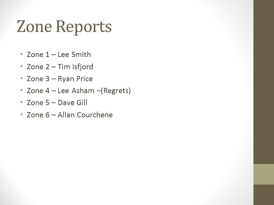Zone Reports Zone 1 – Lee Smith Zone 2 – Tim Isfjord Zone 3 – Ryan Price Zone 4 – Lee Asham –(Regrets) Zone 5 – Dave Gill Zone 6 – Allan Courchene