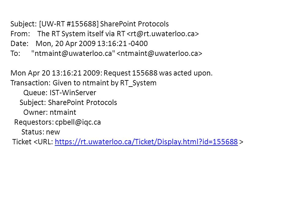 Subject: [UW-RT #155688] SharePoint Protocols From: The RT System itself via RT Date: Mon, 20 Apr 2009 13:16:21 -0400 To: ntmaint@uwaterloo.ca Mon Apr 20 13:16:21 2009: Request 155688 was acted upon.