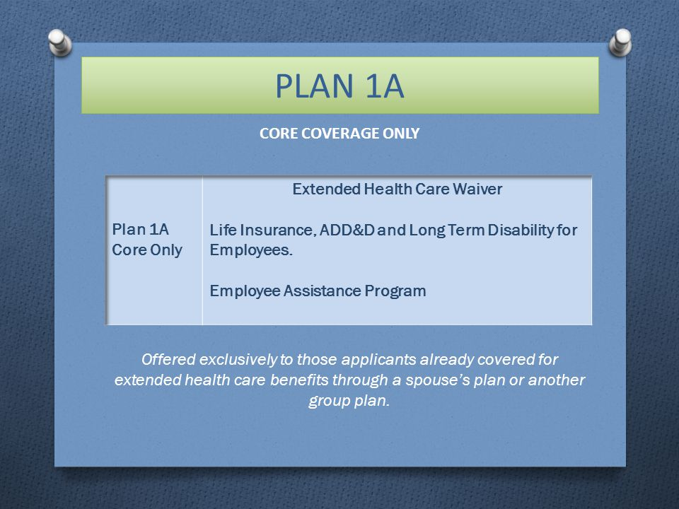 PLAN 1A Offered exclusively to those applicants already covered for extended health care benefits through a spouse's plan or another group plan.