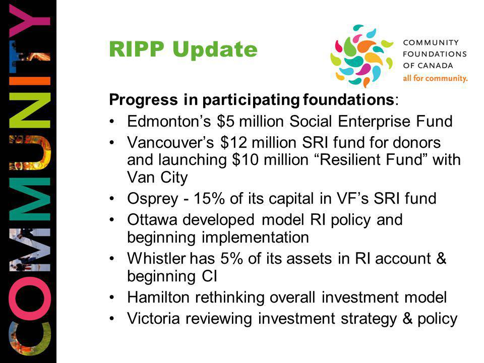 RIPP Update Progress in participating foundations: Edmonton's $5 million Social Enterprise Fund Vancouver's $12 million SRI fund for donors and launching $10 million Resilient Fund with Van City Osprey - 15% of its capital in VF's SRI fund Ottawa developed model RI policy and beginning implementation Whistler has 5% of its assets in RI account & beginning CI Hamilton rethinking overall investment model Victoria reviewing investment strategy & policy