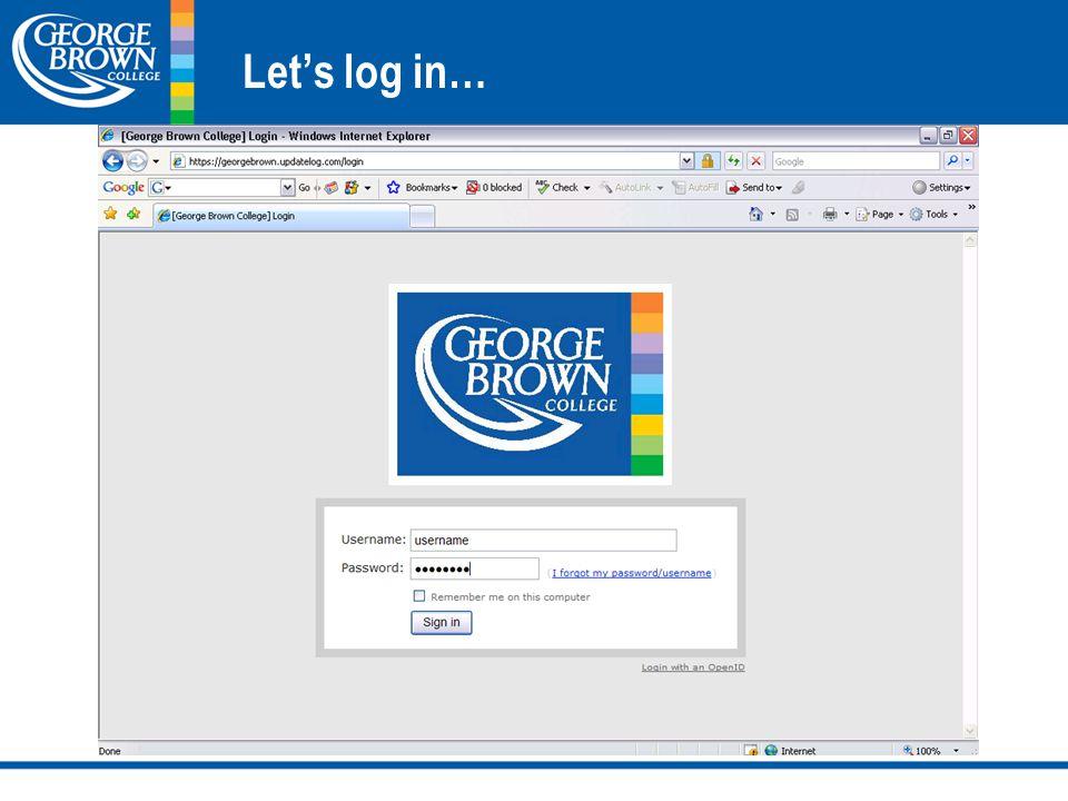 Let's log in…