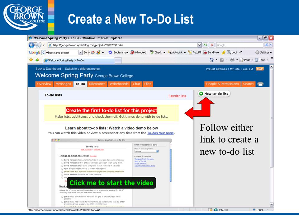 Create a New To-Do List Follow either link to create a new to-do list