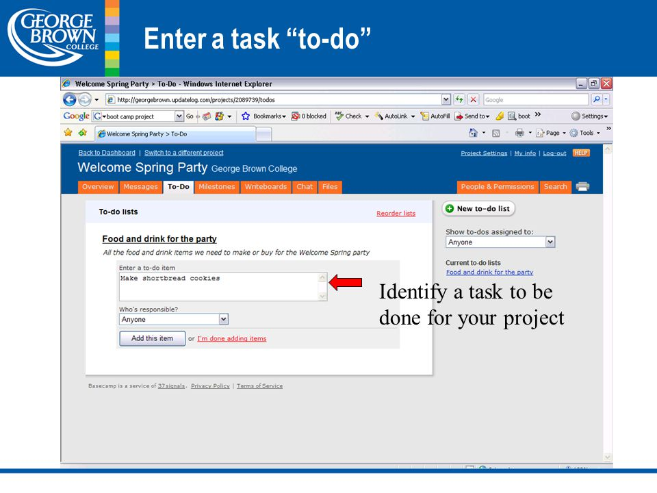 Enter a task to-do Identify a task to be done for your project
