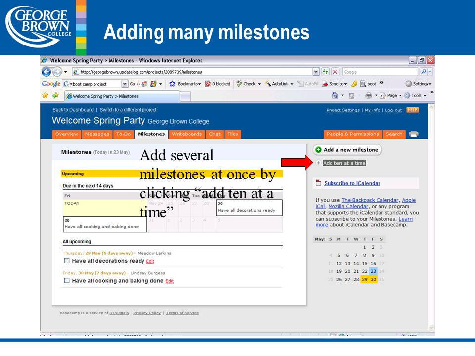 Adding many milestones Add several milestones at once by clicking add ten at a time
