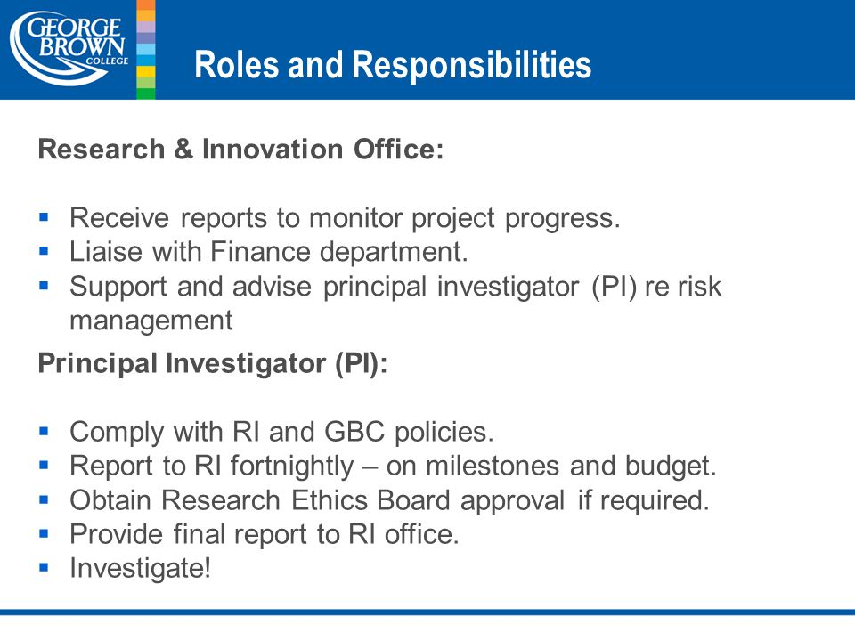 Roles and Responsibilities Research & Innovation Office:  Receive reports to monitor project progress.