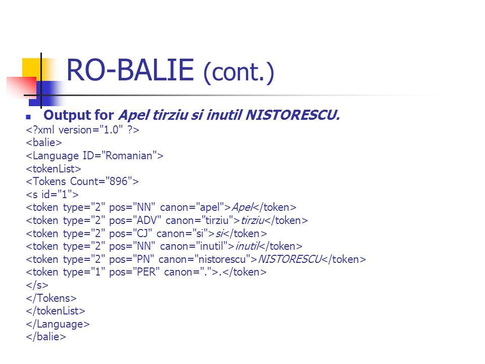 RO-BALIE (cont.) Output for Apel tirziu si inutil NISTORESCU. Apel tirziu si inutil NISTORESCU.