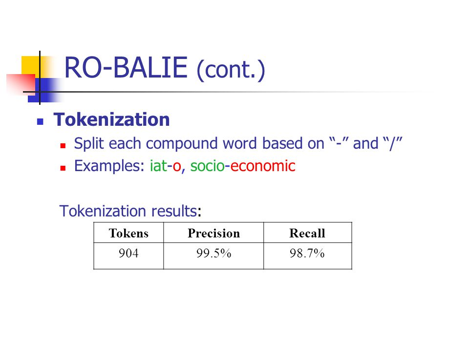RO-BALIE (cont.) Tokenization Split each compound word based on - and / Examples: iat-o, socio-economic Tokenization results: TokensPrecisionRecall %98.7%