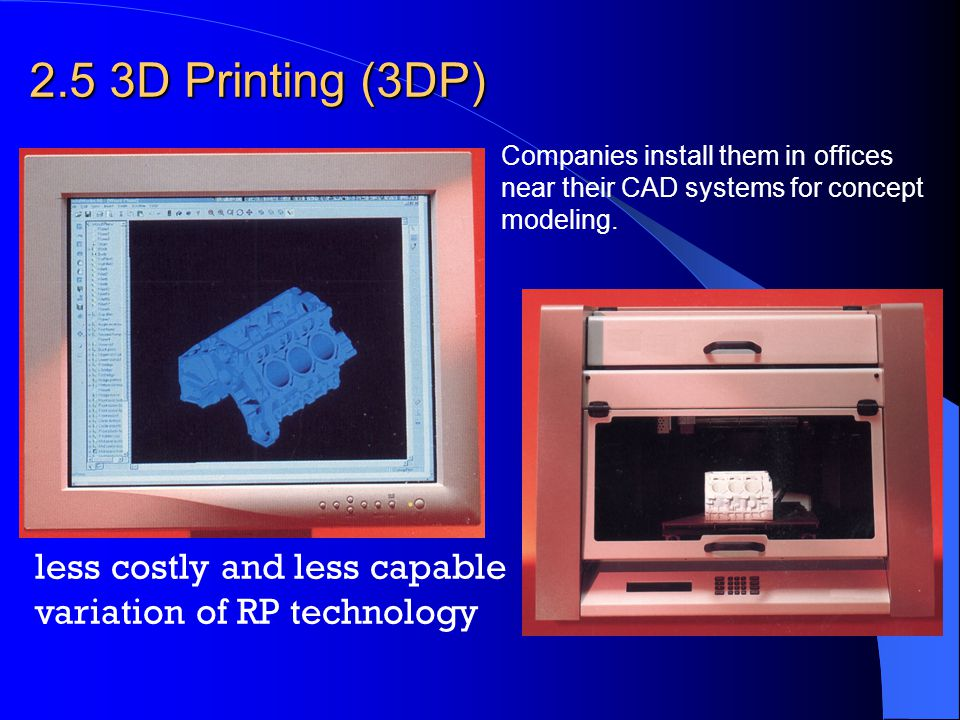 2.5 3D Printing (3DP) less costly and less capable variation of RP technology Companies install them in offices near their CAD systems for concept mod