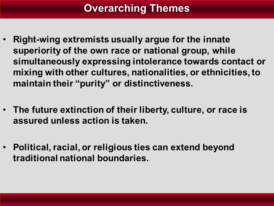 Right-wing extremists usually argue for the innate superiority of the own race or national group, while simultaneously expressing intolerance towards contact or mixing with other cultures, nationalities, or ethnicities, to maintain their purity or distinctiveness.