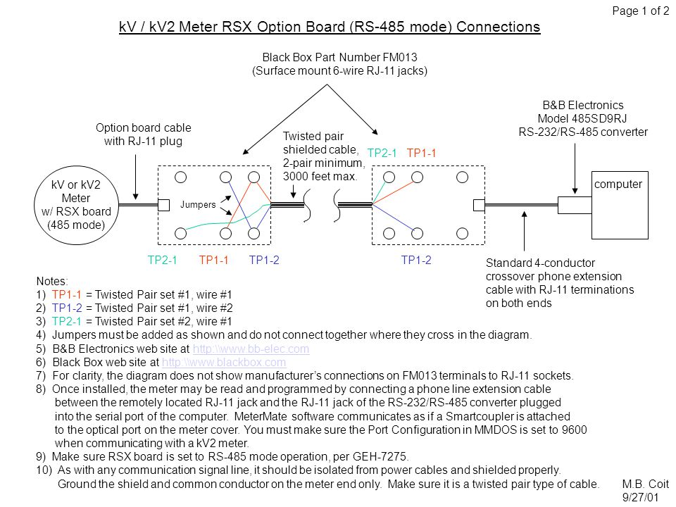 kV / kV2 Meter RSX Option Board (RS-485 mode) Connections Notes: 1) TP1-1 = Twisted Pair set #1, wire #1 2) TP1-2 = Twisted Pair set #1, wire #2 3) TP2-1 = Twisted Pair set #2, wire #1 4) Jumpers must be added as shown and do not connect together where they cross in the diagram.
