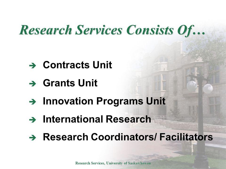Research Services, University of Saskatchewan Research Services Consists Of…  Contracts Unit  Grants Unit  Innovation Programs Unit  International Research  Research Coordinators/ Facilitators