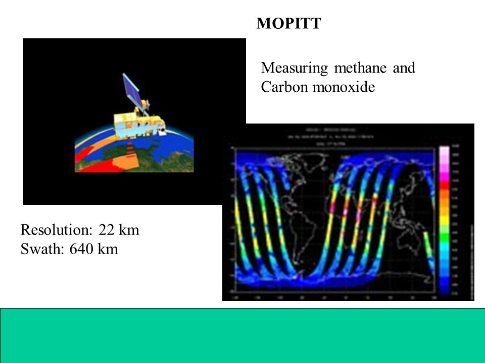 MOPITT Resolution: 22 km Swath: 640 km Measuring methane and Carbon monoxide