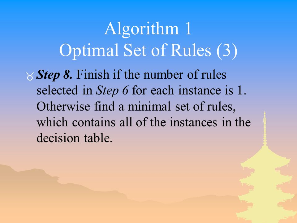 Algorithm 1 Optimal Set of Rules (3) _ Step 8.
