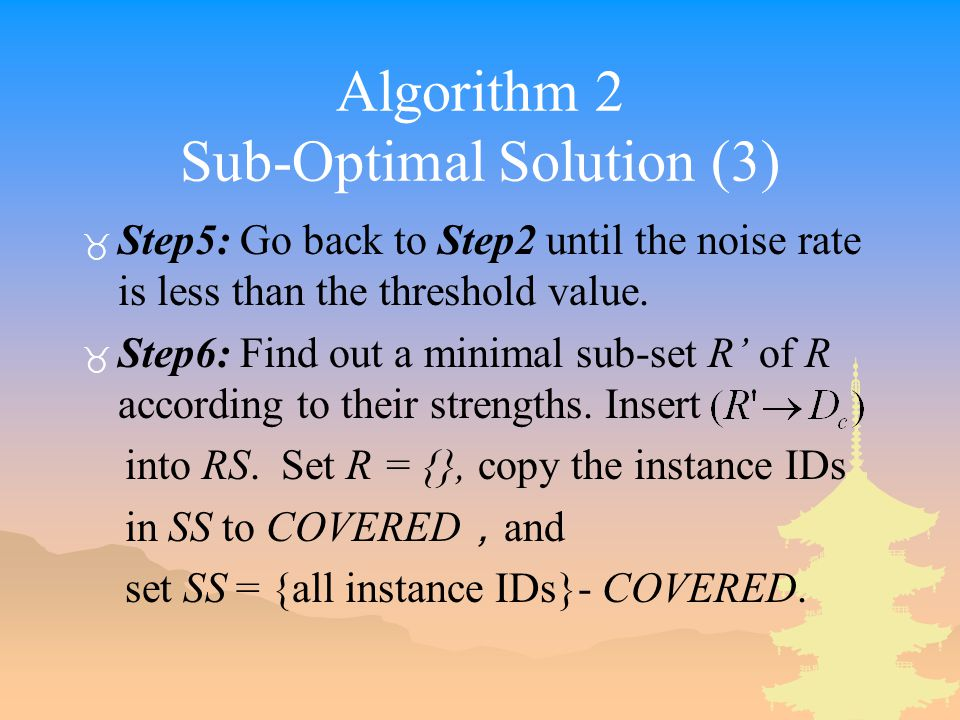 Algorithm 2 Sub-Optimal Solution (3) _ Step5: Go back to Step2 until the noise rate is less than the threshold value.