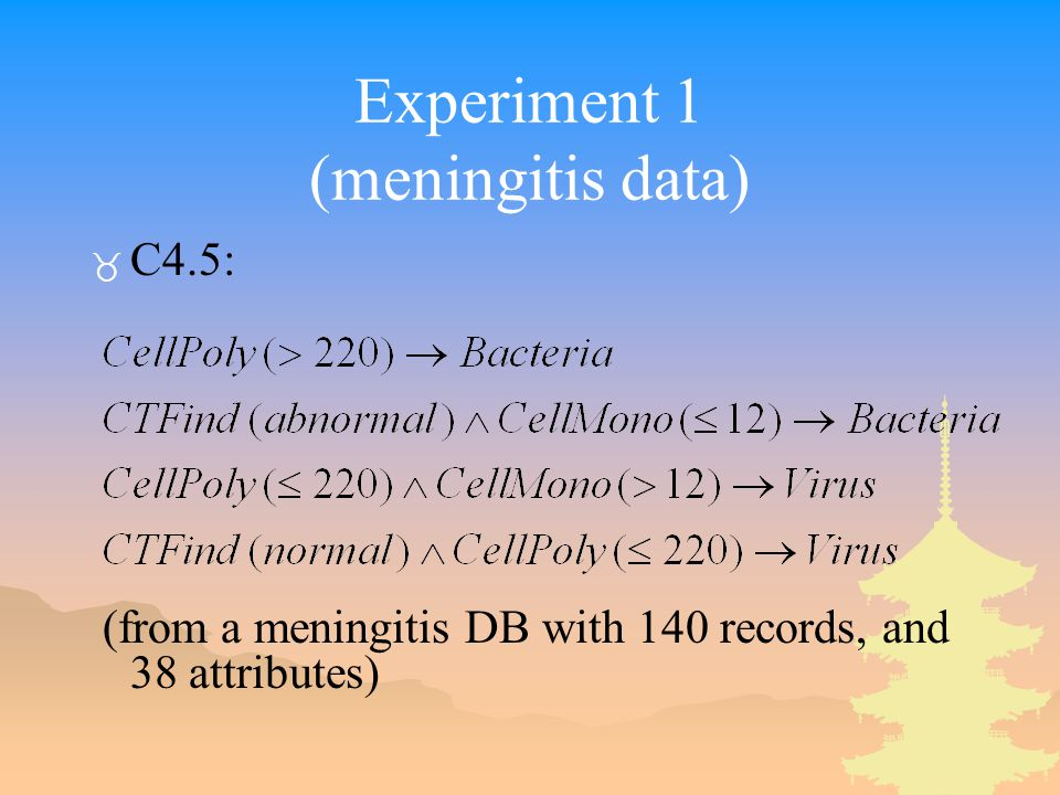 Experiment 1 (meningitis data) _ C4.5: (from a meningitis DB with 140 records, and 38 attributes)