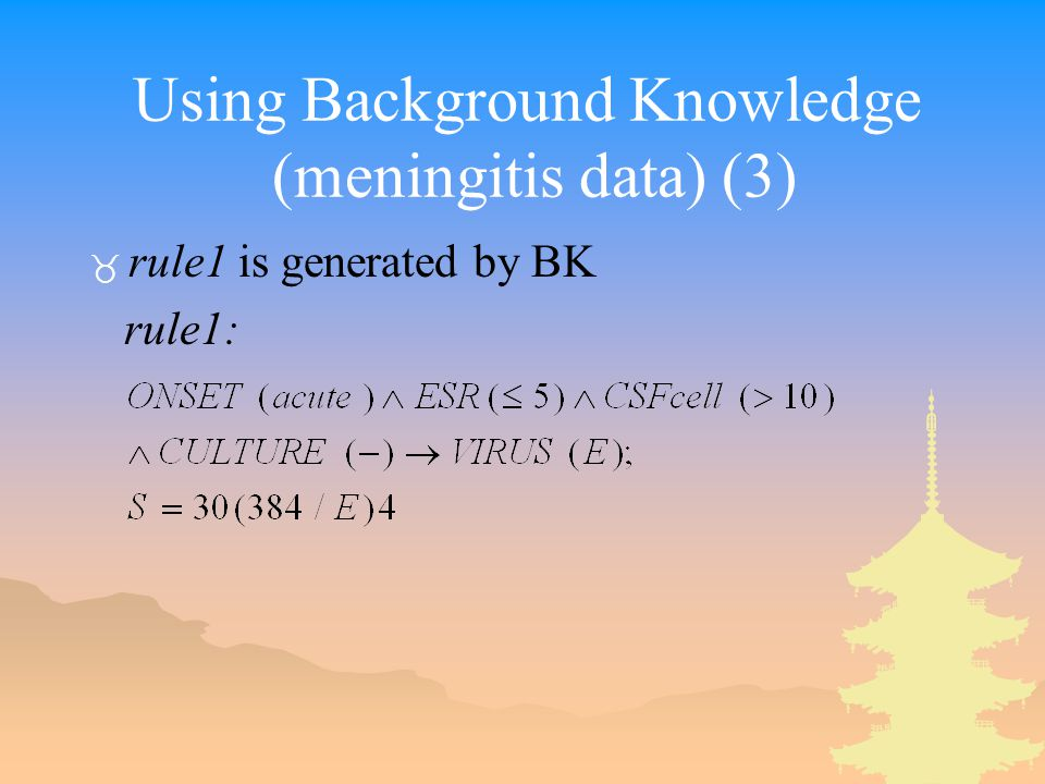 Using Background Knowledge (meningitis data) (3) _ rule1 is generated by BK rule1: