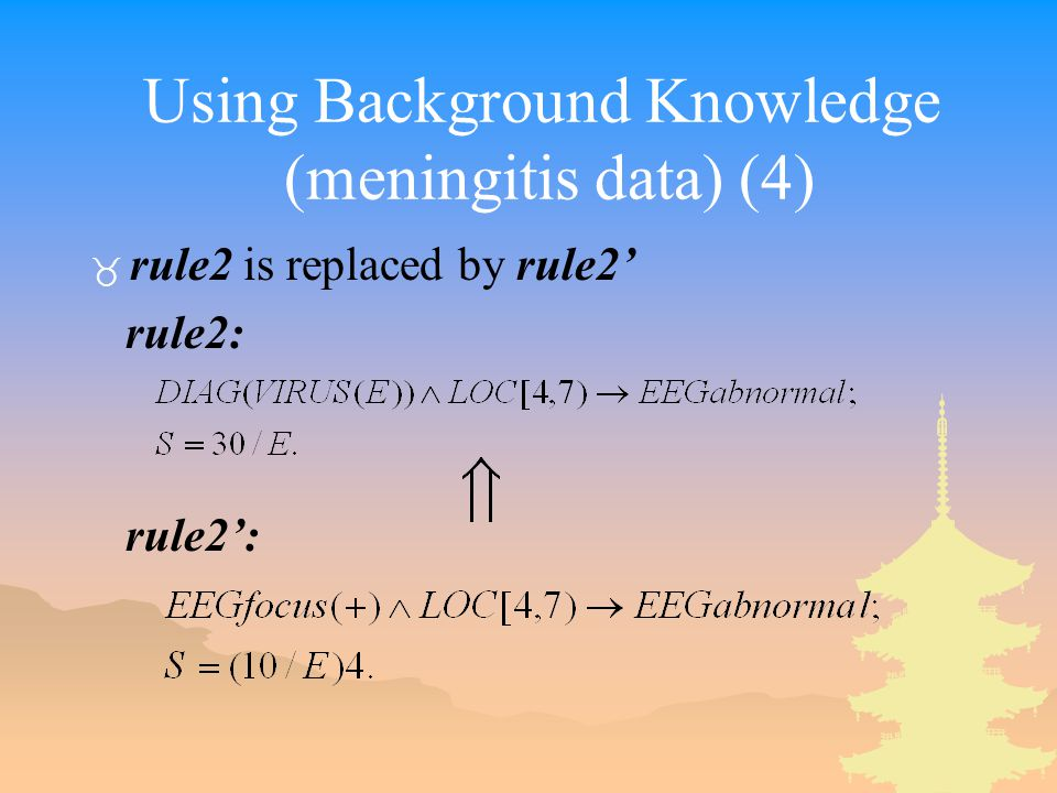 Using Background Knowledge (meningitis data) (4) _ rule2 is replaced by rule2' rule2: rule2':