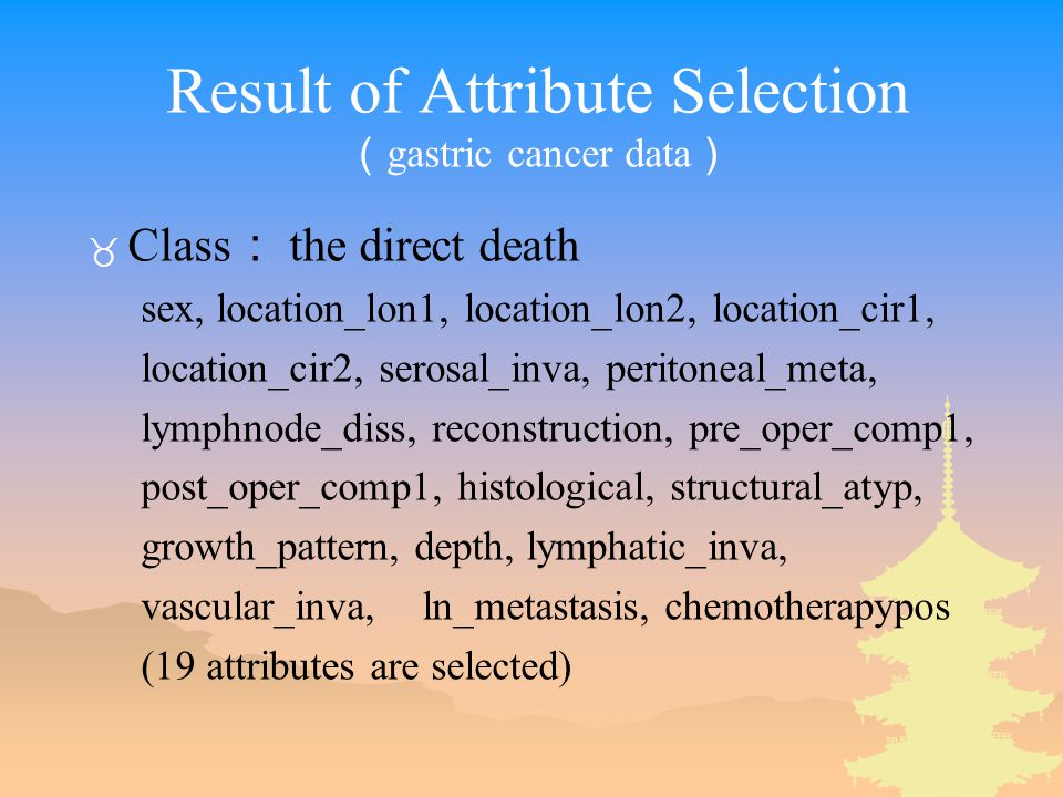 Result of Attribute Selection ( gastric cancer data ) _ Class : the direct death sex, location_lon1, location_lon2, location_cir1, location_cir2, serosal_inva, peritoneal_meta, lymphnode_diss, reconstruction, pre_oper_comp1, post_oper_comp1, histological, structural_atyp, growth_pattern, depth, lymphatic_inva, vascular_inva, ln_metastasis, chemotherapypos (19 attributes are selected)