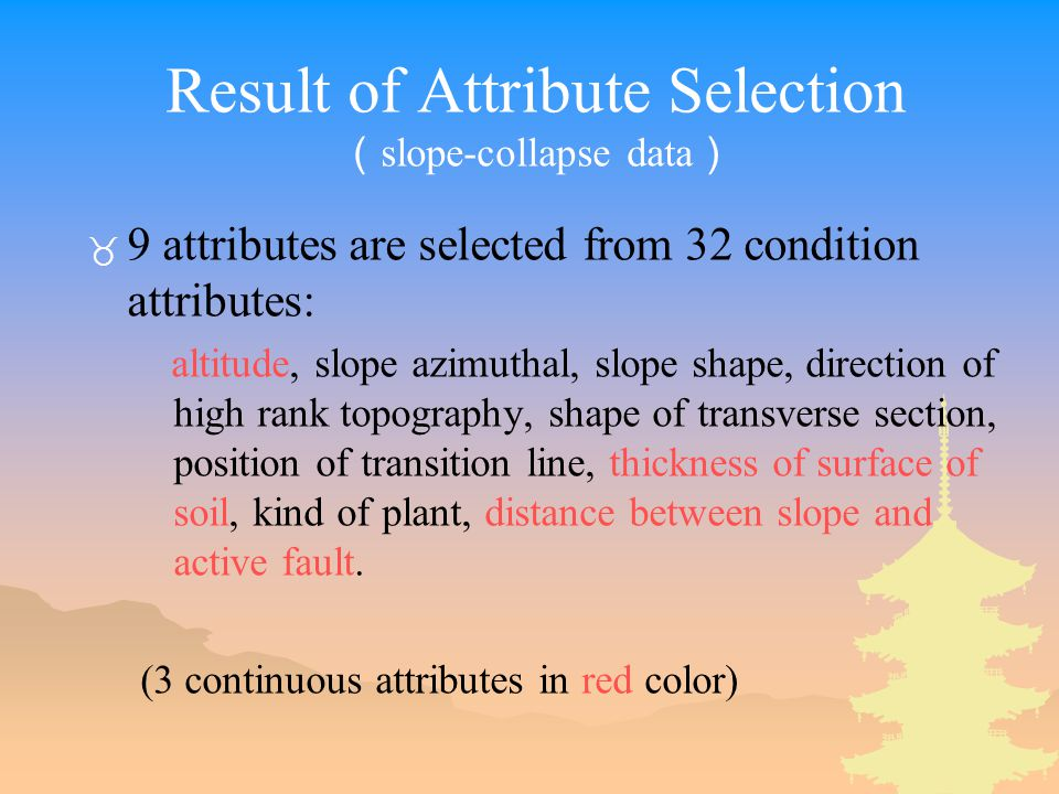 Result of Attribute Selection ( slope-collapse data ) _ 9 attributes are selected from 32 condition attributes: altitude, slope azimuthal, slope shape, direction of high rank topography, shape of transverse section, position of transition line, thickness of surface of soil, kind of plant, distance between slope and active fault.