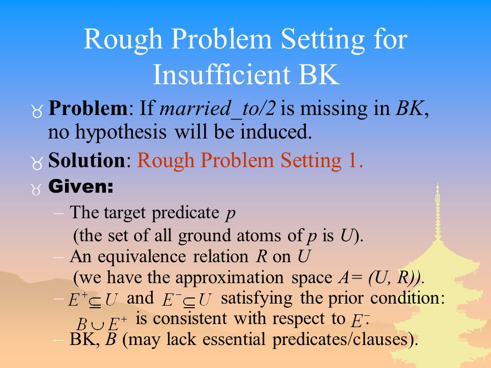 Rough Problem Setting for Insufficient BK _ Problem: If married_to/2 is missing in BK, no hypothesis will be induced.