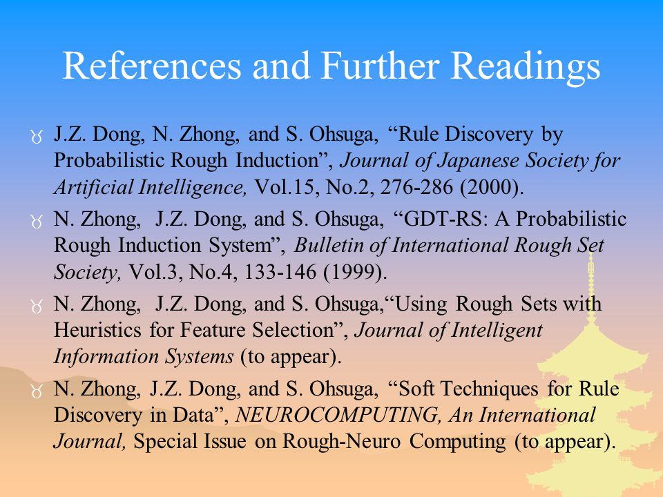 References and Further Readings _ J.Z. Dong, N. Zhong, and S.
