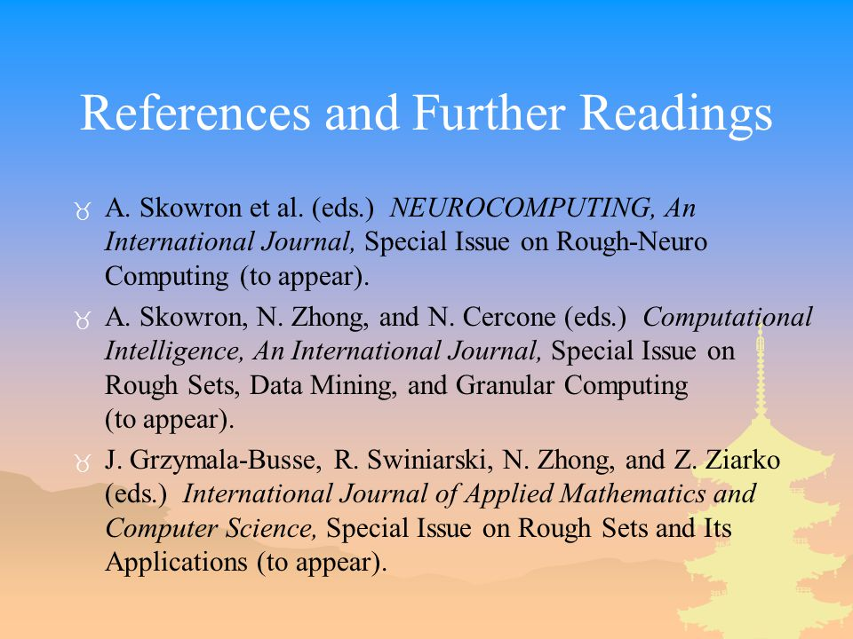 References and Further Readings _ A. Skowron et al.