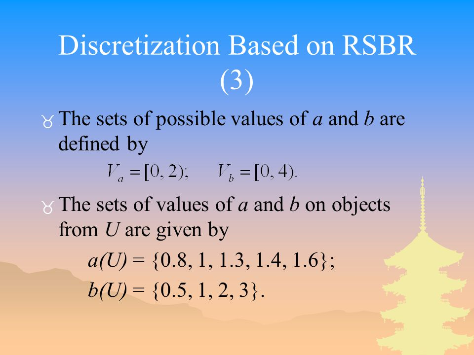 Discretization Based on RSBR (3) _ The sets of possible values of a and b are defined by _ The sets of values of a and b on objects from U are given by a(U) = {0.8, 1, 1.3, 1.4, 1.6}; b(U) = {0.5, 1, 2, 3}.