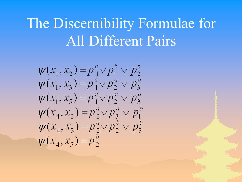 The Discernibility Formulae for All Different Pairs