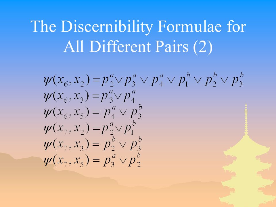 The Discernibility Formulae for All Different Pairs (2)