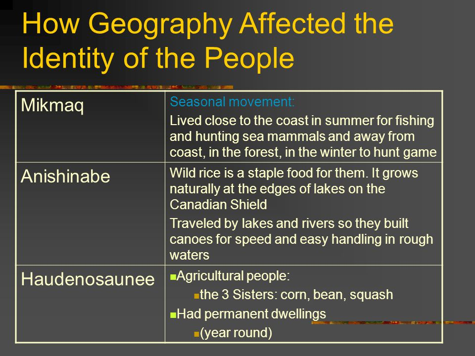 How Geography Affected the Identity of the People Mikmaq Seasonal movement: Lived close to the coast in summer for fishing and hunting sea mammals and