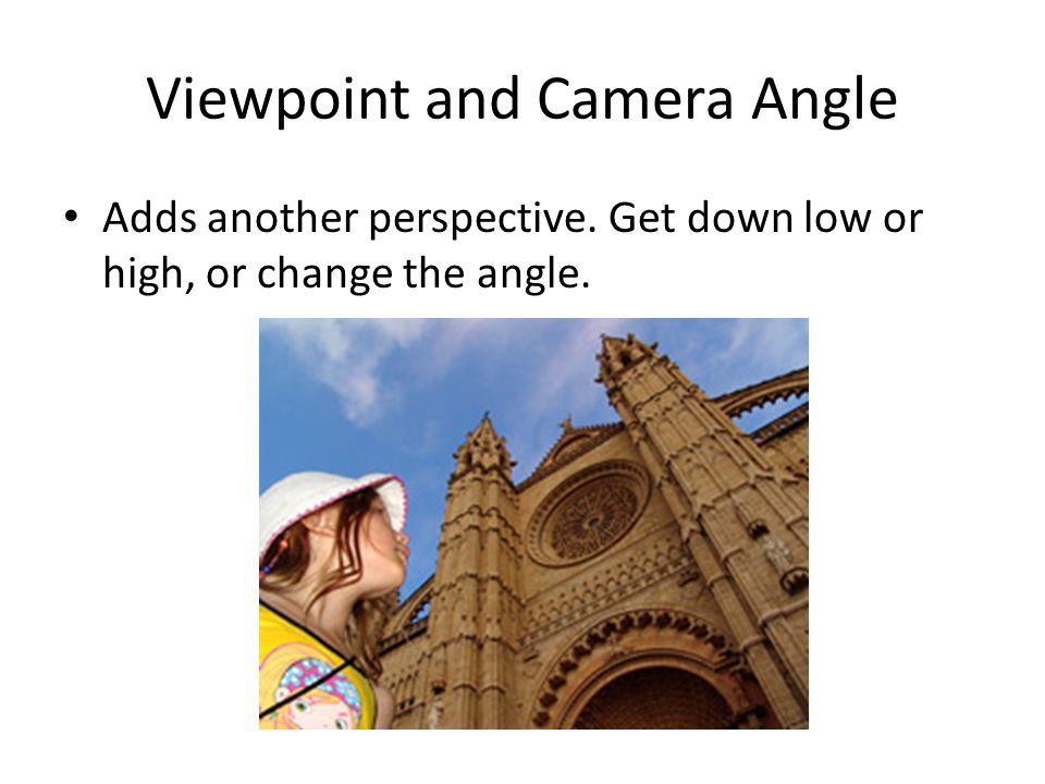 Viewpoint and Camera Angle Adds another perspective. Get down low or high, or change the angle.