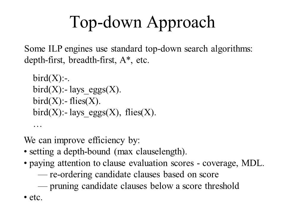 Top-down Approach bird(X):-. bird(X):- lays_eggs(X). bird(X):- flies(X). bird(X):- lays_eggs(X), flies(X). … Some ILP engines use standard top-down se