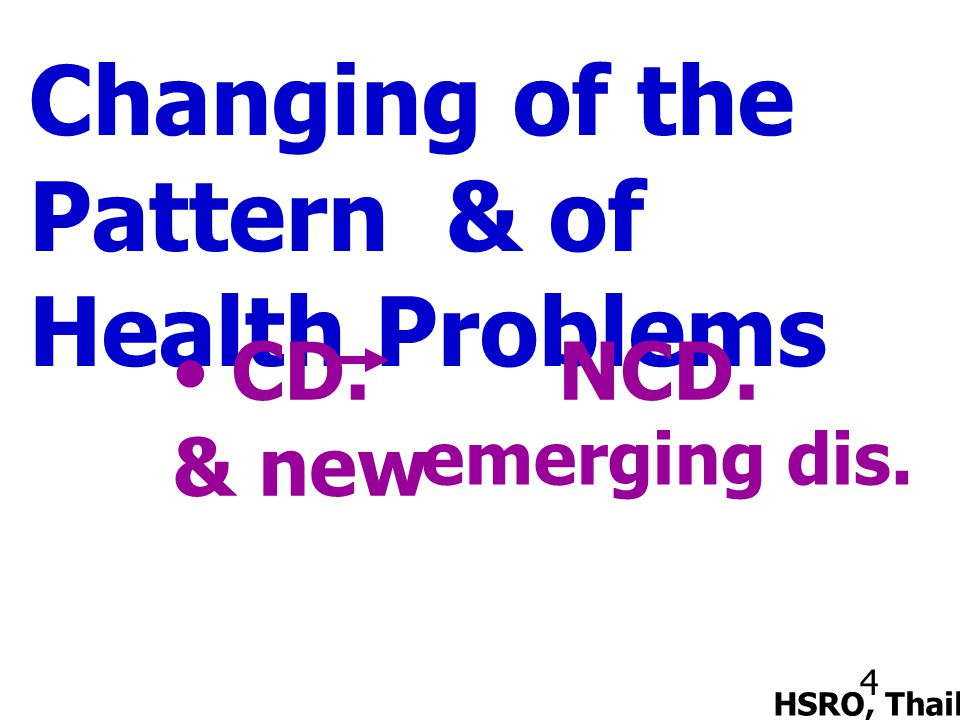 4 Changing of the Pattern & of Health Problems HSRO, Thailand CD. NCD. & new emerging dis.