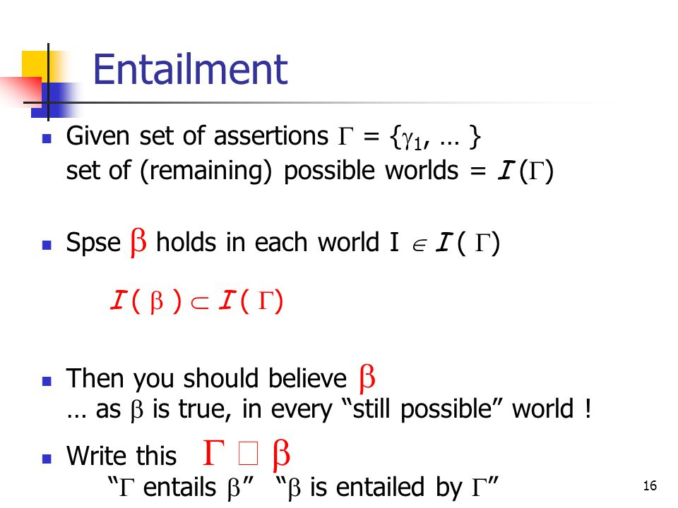 16 Entailment Given set of assertions  = {  1, … } set of (remaining) possible worlds = I (  ) Spse  holds in each world I  I (  ) I (  )  I (  ) Then you should believe  … as  is true, in every still possible world .
